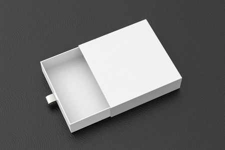Opened empty white drawer sliding box on black background. Isolated with clipping path around box. 3d illustration