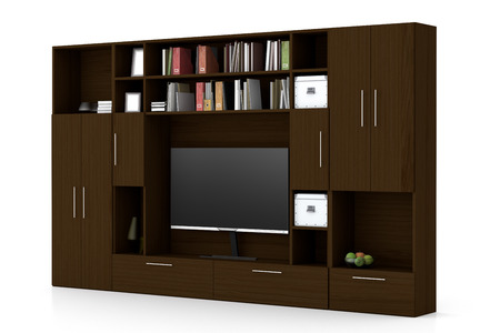 Dark brown closet wardrobe with TV screen, books, boxes isolated on white. 3d illustration
