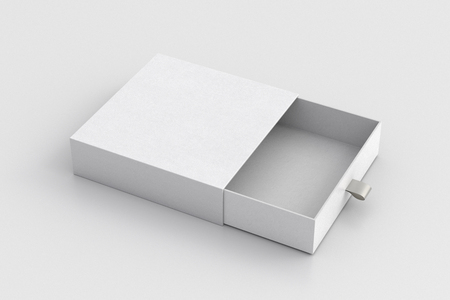 Opened empty white drawer sliding box on white background. Isolated with clipping path around box. 3d illustration  Stock Photo