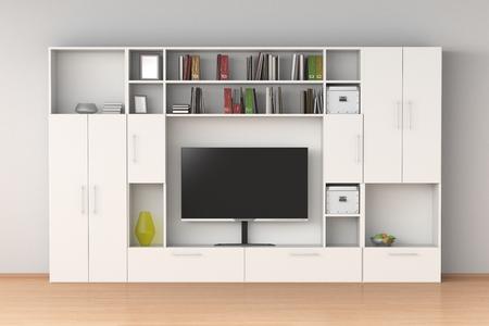 White closet wardrobe with TV screen, books, boxes in interior. 3d illustration  Standard-Bild