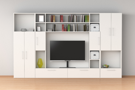 White closet wardrobe with TV screen, books, boxes in interior. 3d illustration  版權商用圖片