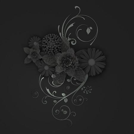 Paper flowers cut on black background. 3d illustration