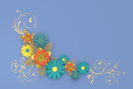 Paper flowers cut on beige background. 3d illustration