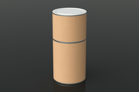 Blank closed kraft paper tube container on black background. Include clipping path around tube. 3d illustration