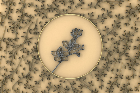 Beige paper flower on floral background with a sprig of blossoms. 3d illustration