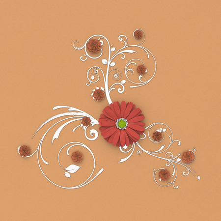 Paper flowers on floral background around flowers and leaves decoration. 3d illustration