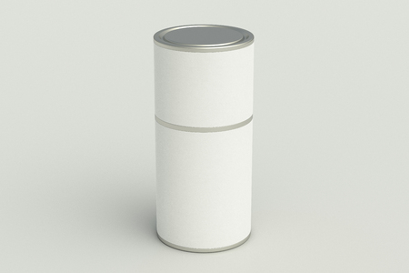 Blank closed white tube container container on white background. Include clipping path around tube. 3d illustration