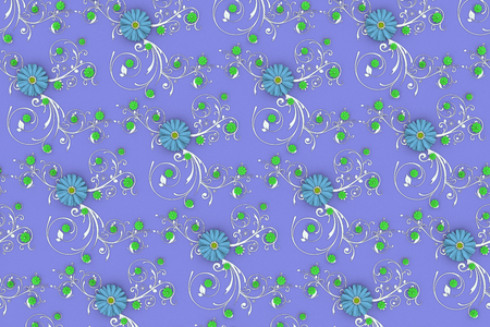 Paper flowers pattern on floral background around flowers and leaves decoration. 3d illustration