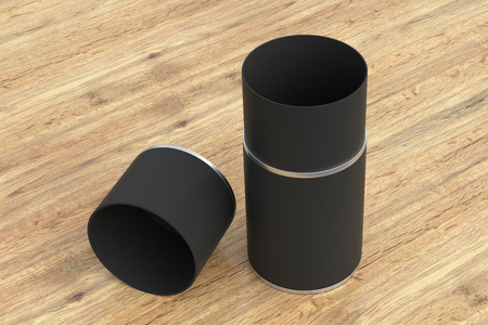 Blank opened black tube container packaging on wooden background. 3d illustration Stok Fotoğraf