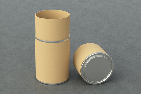 Blank opened beige leather tube container packaging on gray background. 3d illustration Stok Fotoğraf