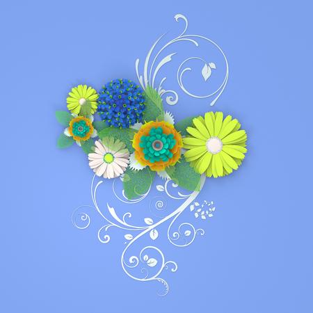 Paper cut flower greeting card. 3d illustration
