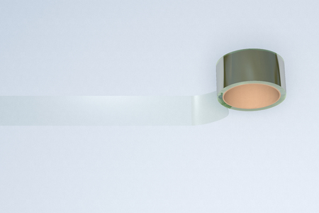 Transparent adhesive tape roll on white background. 3d illustration.
