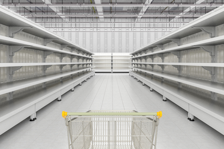 Store interior with empty shopping cart in aisle of supermarket shelves. 3d render