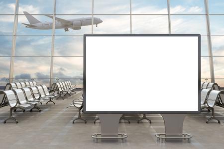 Sala de embarque del aeropuerto. Soporte de cartelera horizontal en blanco y avión en el fondo. Incluya el trazado de recorte alrededor del cartel publicitario. Ilustración 3d
