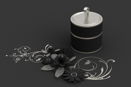 Blank closed short black tube container packaging on paper flowers greeting background. 3d illustration Stock Photo