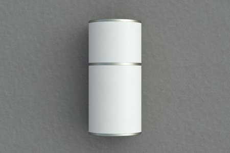 Blank closed white tube container packaging lies on gray background. 3d illustration Stock Photo