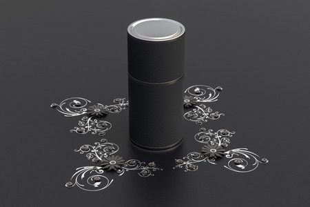Blank closed black tube container packaging on paper flowers greeting background. 3d illustration Stock Photo