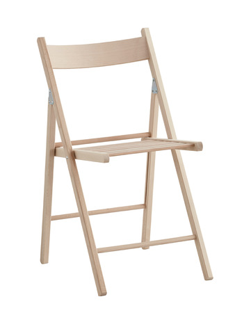 Wooden folding chair isolated on white with clipping path.