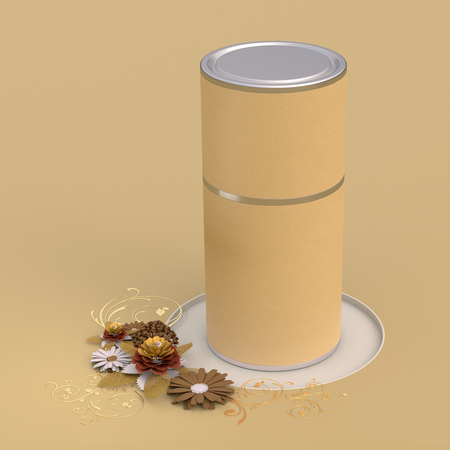Blank closed beige leather tube container packaging on paper flowers greeting background. 3d illustration