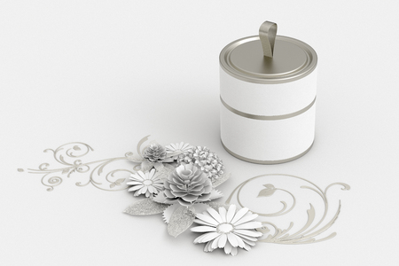 Blank closed short white tube container packaging on paper flowers greeting background. 3d illustration