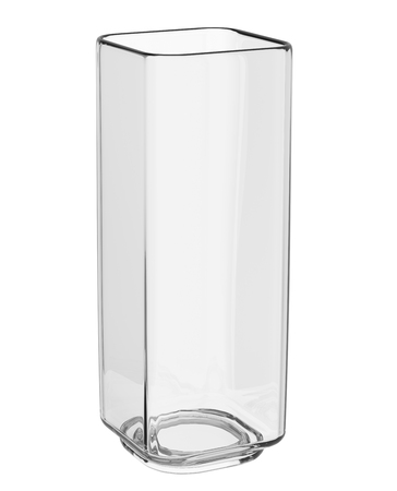 Empty glass vase isolated on white background.  Front view. 3D illustration