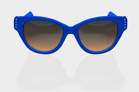 Blue sunglasses isolated with clipping path. 3D iilustration