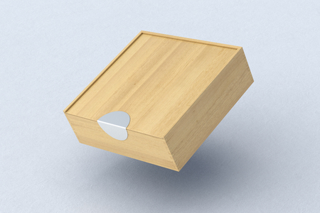 Blank wooden square box with closed sliding lid flying over white background. 3d illustration Stock Photo