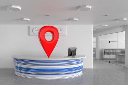 GPS pin location navigation geo tag with office reception desk in modern business interior. 3d illustration  Foto de archivo