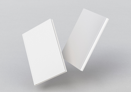 White vertical two blank book cover flying over white background. Front and back cover views. 3d illustration Stock Photo
