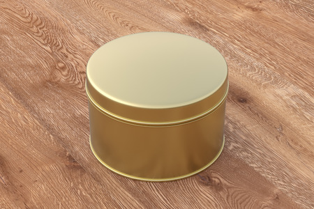 Blank closed gold round tin container box on wooden background. 3d illustration