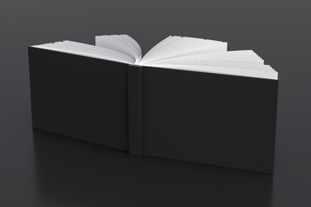 Black blank horizontal book cover standing isolated on black background. 3d render Stock Photo