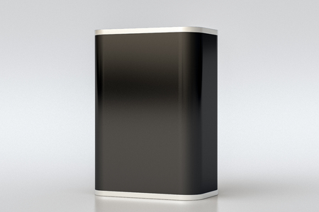 Oil can. Blank black rectangular tin can isolate on white background. Perspective view. 3d illustration