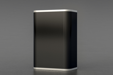 Oil can. Blank black rectangular tin can isolated on gray background. Perspective view. 3d illustration Stock Photo
