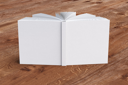 White blank square book cover standing isolated on wooden background. 3d render