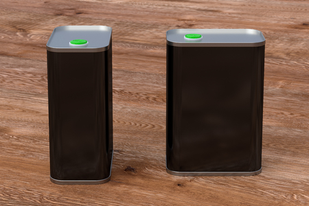 Oil can. Blank black rectangular tin can isolated on wooden background. Front and side view. 3d illustration