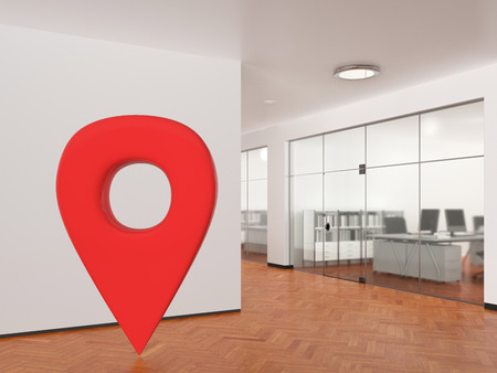 GPS pin location navigation geo tag in empty office space in modern building. 3d illustration