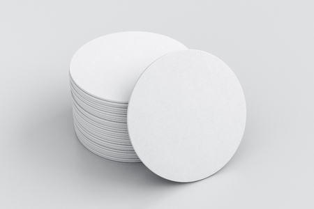 White round beer coasters on white background with  around coasters. 3d illustration