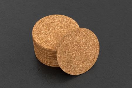Cork round beer coasters on black background with around coasters. 3d illustration Stockfoto