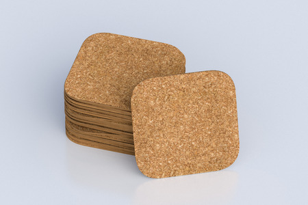 Cork square beer coasters on white background  around coasters. 3d illustration