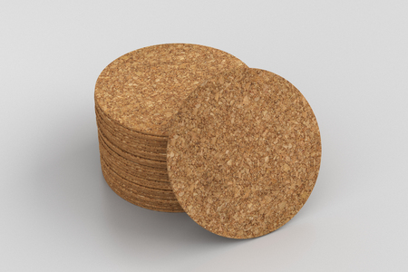 Cork round beer coasters on white background with around coasters. 3d illustration