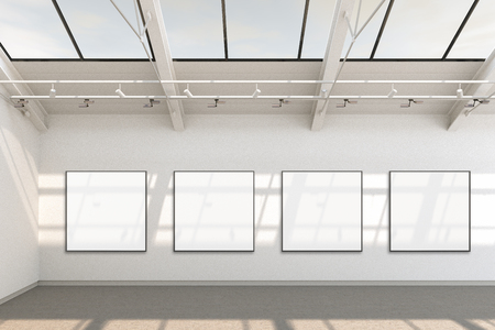 Empty gallery interior with four blank square posters around banners. 3d Illustration