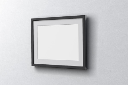 Blank horizontal poster on the white wall with dark frame around poster. 3d illustration