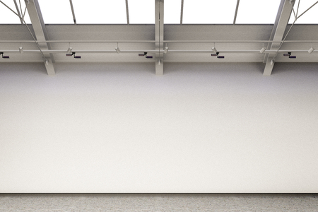 Empty gallery interior with blank exhibition walls mockup. 3d Illustration Stock Photo