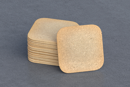 Vintage square beer coasters on gray background  around coasters. 3d illustration
