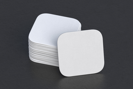 White square beer coasters on black background around coasters. 3d illustration