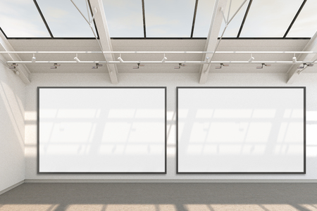Empty gallery interior with two blank horizontal posters  around banners. 3d Illustration