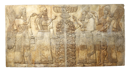 Ancient relef from  Dur-Sharrukin (Khorsabad, Iraq) from palace of Sargon II king of Assyria Stock Photo