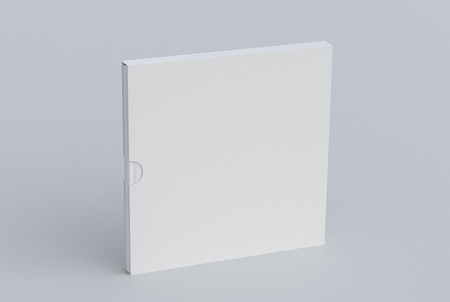 Blank square book in box standing on white. Include clipping path around book and box. 3d render