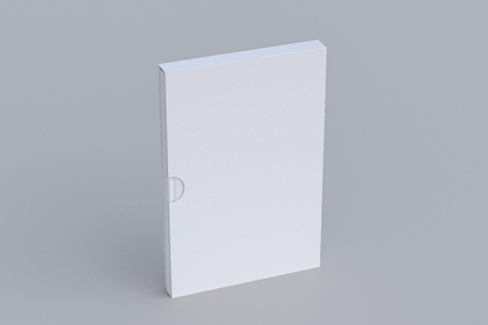 Blank verical book in box standing on white. Include clipping path around book and box. 3d render