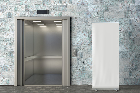 Blank roll up banner stand in office lobby with opened elevator. Include clipping path around ad banner. 3d render